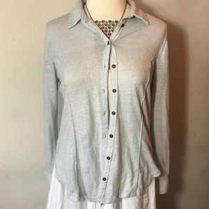 Maeve by Anthropologie Heather Grey Button Up